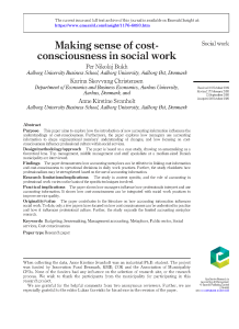 Cost-consciousness in social work